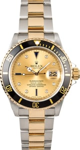 Certified Rolex Submariner 16613 Champagne Serti Dial
