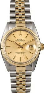 Certified Rolex Datejust 16013 Champagne Dial