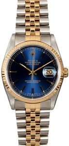 Blue Dial Rolex Datejust 16233 Two Tone Jubilee