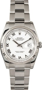 Rolex Datejust 116234 White Dial Steel Oyster
