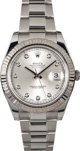 Rolex Datejust II Silver Diamond Dial 116334