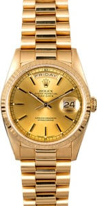 Rolex President 18238 Champagne Dial 18k Yellow Gold