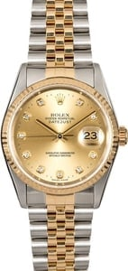 Two Tone Rolex DateJust 16233 Diamond Dial
