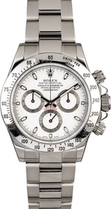 Certified Steel Rolex Daytona 116520 White Dial