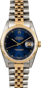 PreOwned Rolex Datejust 16233 Blue Index Dial