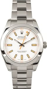 Rolex Milgauss 116400 White Dial with Smooth Bezel