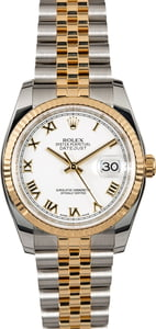 Certified Rolex Datejust 116233 White Roman Dial