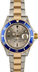 PreOwned Rolex Submariner 16613 Serti Dial Silver