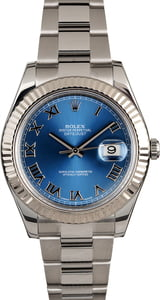 Rolex Datejust 116334 Blue Roman Dial Certified Pre-Owned