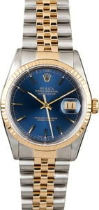 Pre-Owned Rolex Datejust 16233 Blue Index Dial