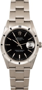 PreOwned Rolex Date 15210 Black Dial Steel Watch