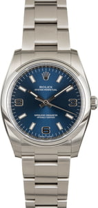 Rolex Oyster Perpetual 114200 Blue Dial with Factory Stickers