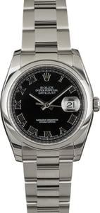 PreOwned Rolex Datejust 116200 Black Roman Dial