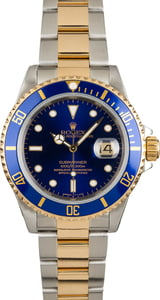 Pre-Owned Mens Rolex Submariner Two Tone with Blue Face Model 16613 3