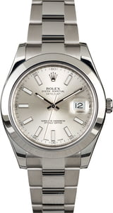 Rolex Datejust II Ref 116300 Silver Index Dial