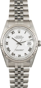 Pre Owned MRolex Datejust 16234 White Roman Dial