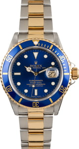 USED BLUE ROLEX SUBMARINER 16613