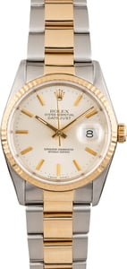 Used Rolex Datejust 16233 Silver Dial Two Tone