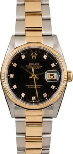 Pre Owned Rolex Datejust 16203 Black Diamond Dial