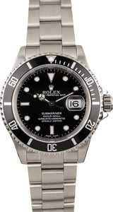 Used Black Rolex Submariner 16610 Luminous Dial