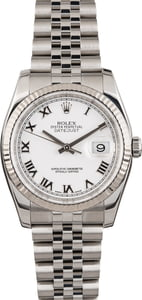 PreOwned Rolex Steel Datejust 116234 White Roman Dial