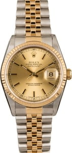 125666 Pre-Owned Rolex Datejust 16233 Champagne Index