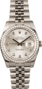 Used Rolex Datejust 116244 Silver Diamond Dial & Bezel T