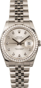Used Rolex Datejust 116244 Silver Diamond Dial & Bezel
