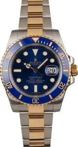 Used Rolex Two Tone Submariner 116613LB Sunburst Blue Dial