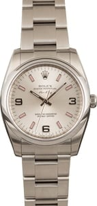 Pre Owned Rolex Air King 114200 Silver Arabic Dial