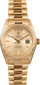 Rolex Day Date 18038 Champagne Tapestry Dial 18k Yellow Gold Circa 1979