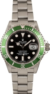 Rolex Steel Submariner 16610V Serial Engraved Steel 'Kermit'