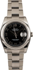 Pre Owned Rolex Datejust Black Dial 116200