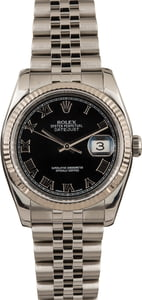 Pre-Owned Rolex Datejust 116234 Black Roman Dial