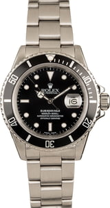 Pre-Owned Rolex 40MM Submariner 168000 Black Dial