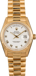 Pre Owned Rolex President Day-Date 18038 White Roman Dial