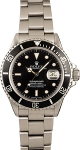 Pre-Owned Rolex Submariner 168000 Stainless Steel Watch