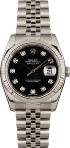 Rolex Datejust Black 116234 White Gold Bezel