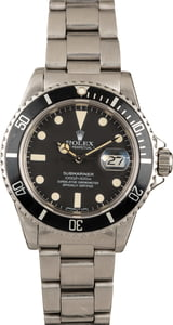 Pre-Owned 40MM Rolex Submariner 16800 Black Dial
