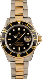 Rolex Two-Tone Submariner Black 16613
