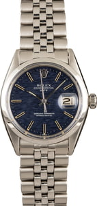 Pre-Owned Role Date 1500 Blue Textured Dial