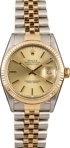 Rolex Two-Tone Datejust Champagne Dial 16013