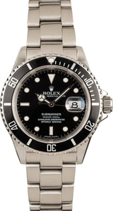 Rolex Submariner Black Dial 16610 No Holes