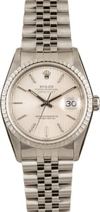 Rolex Datejust 16220 Silver Index Tapestry Dial