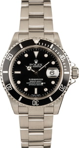 Rolex Submariner Black Dial 16610 Stainless Steel Pierced Lugs