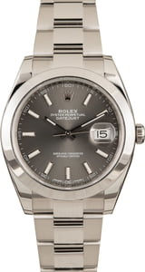 PreOwned Rolex Datejust 41MM 126300 Rhodium Index Dial