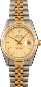 Rolex Datejust Champagne Tapestry Index Dial 16233