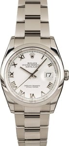 Pre-Owned Rolex Datejust 126200 White Roman Dial