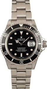 Rolex Submariner 16610 Black No Holes Case