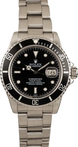 Pre-Owned Rolex Submariner 16800 Black Dial